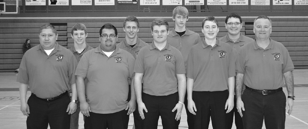 Meet the Sandusky Varsity Golf Team - Front (l-r): Asst. Coach Joe Garcia, Chris Bobb, Logan Hughes, Ben Jones and Coach Brian Jones. Back (l-r): Austin Western, Jack Norton, Caleb Kaatz and Cody Johnston.  Missing: Marshal Holt.