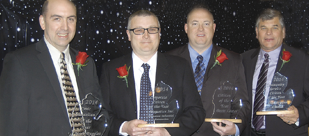 CITIZENS OF THE YEAR: Civic Samaritan- Mark Ruggles, Corporate Citizen- Tom Burkle of Numatics, Citizen of the Year- Brett Lester, Volunteer of the Year- Dave Coleman of Countryside Free Methodist Church.