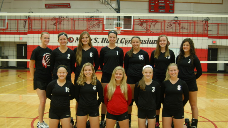 Meet the Sandusky 2015 Girls Varsity Volleyball Team - Front (l-r): Jenna Franzel, Madison Armstrong, Ally Blank, Emily Green and Cassidy Mazei. Back (l-r): Coach Angie Blank, Callie Jacobson, Jess Kursinsky, Haley Nelson, Madysen Jansen, Erica Jones and Leah Rourke. Missing: Katelyn Patterson and Rosie Abraham.