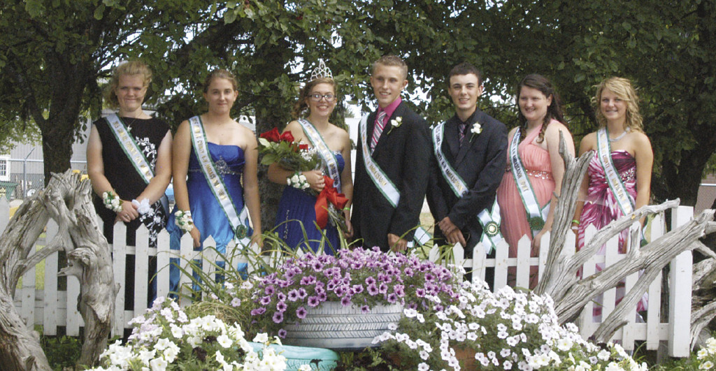 Leslie Bell and Anthony Grifka (center) are the 2015-16 Sanilac County 4-H Ambassadors. The victors were announced Sunday as part of the opening ceremonies at the fair. Pictured l-r: Valerie Hovanec, Brittany Pupi, Leslie Bell, Anthony Grifka, Logan Leen, Xzoa Shagene, and Hadley Gibbs. Leslie is the daughter of Mike & Terry Bell, while Anthony is the son of Brian & Wanda Grifka.
