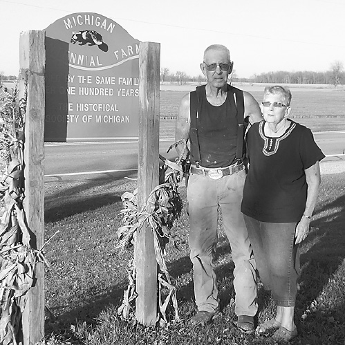 COLTSON: Ronald J. and Loris Coltson still farm the property that has been in their family since March 25, 1914. The farm is on Sanilac Rd. in Kingston. It was originally purchased by James H. and Louisa Coltson in 1914 from Zacharias Bartholomew. James died in 1935 and in 1941 Louisa sold it to Irl and Ellen Coltson. Irl farmed with his son, Ron, until his death in 1989. Upon Ellen's death in 1999, Ron and Loris inherited the farm. This year they produced wheat, corn and soy beans.