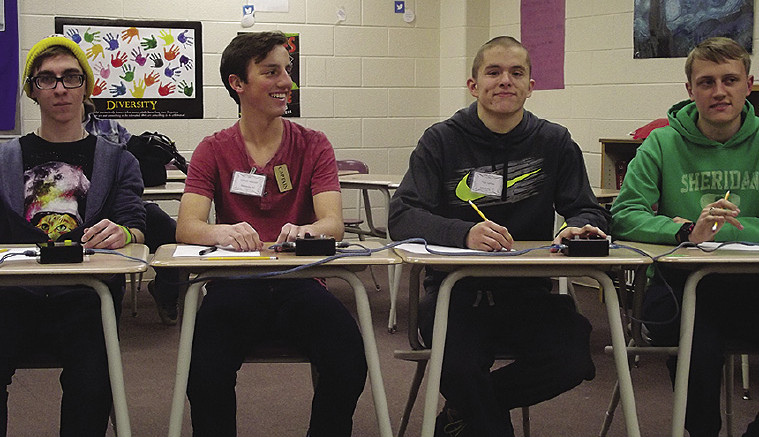 Sandusky High Quiz Bowl A Team: (L-R) Parker Wilson, Mike Wentzel, Tate Larson and Grant Sheridan.