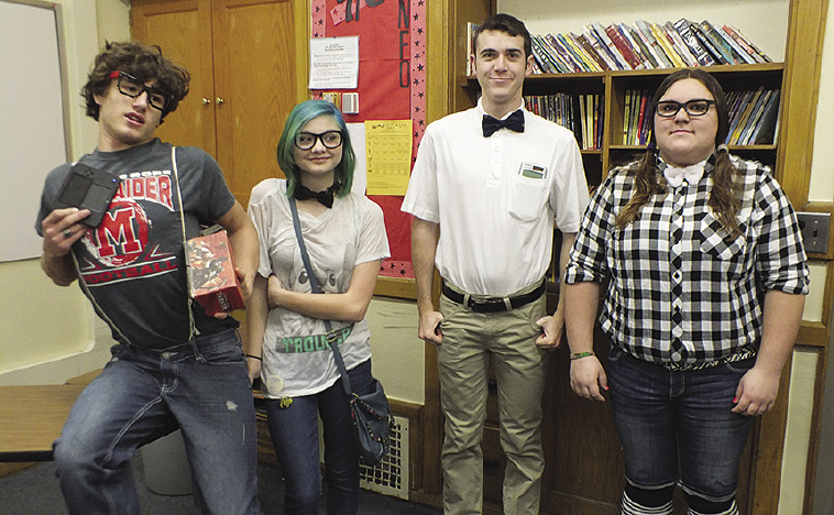 "Students dress up for ""Nerd Day,"" in honor of Homecoming."