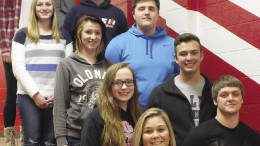 Front row: Emma Hayden, Ethan Stover, 2nd - Rilea Kraft, Steven Wilkinson, 3rd - Zoey Forth, Ben Nied 4th - Mickenzie Gould, Dalton McNary, top - A.J. Choike, Haley Cross. Get more of your Marlette Homecoming  fix on Page 6B.