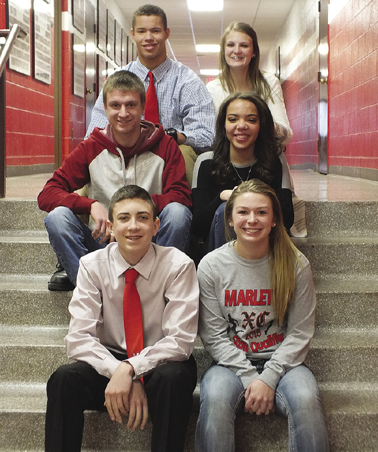 From front to back: Freshmen Represntatives Sean Quade and Rebecca Glass, Sophomore representatives Austin Gyomory, and Brianna Sartin, and Junior representatives Issac Dale and Julia Hohman.